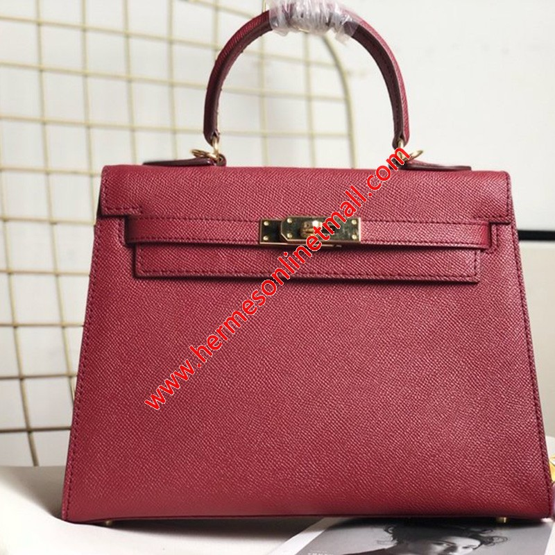 Hermes Kelly Bag Epsom Leather Gold Hardware In Burgundy