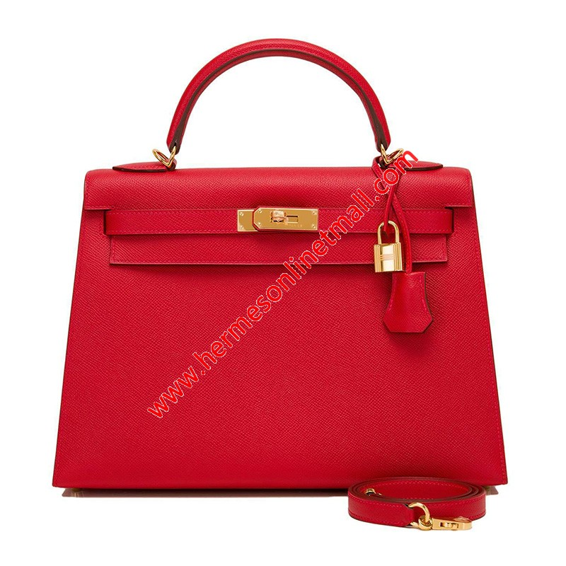 Hermes Kelly Bag Epsom Leather Gold Hardware In Red