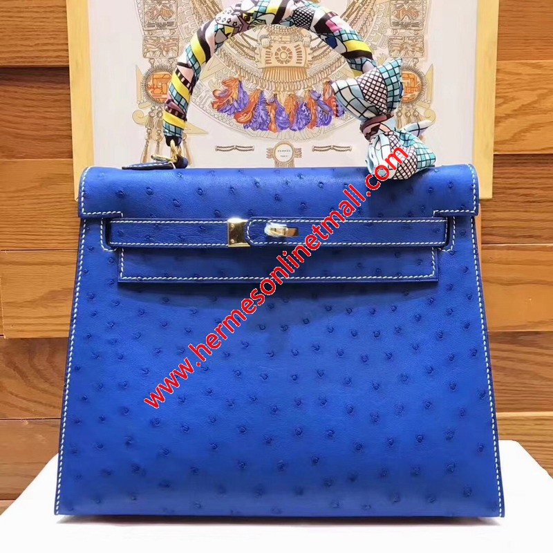 Hermes Kelly Bag Ostrich Leather Gold Hardware In Blue