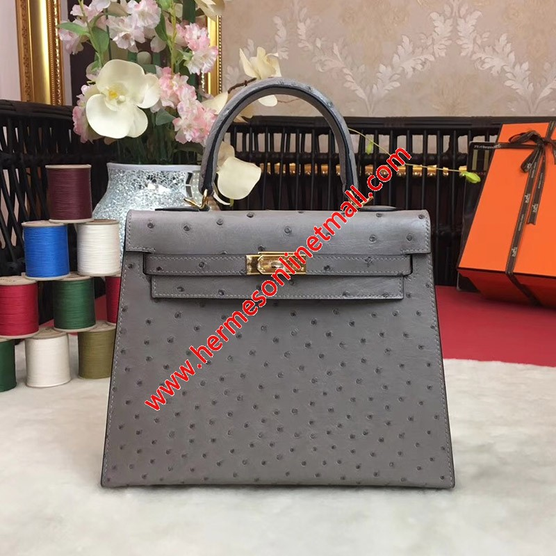 Hermes Kelly Bag Ostrich Leather Gold Hardware In Grey