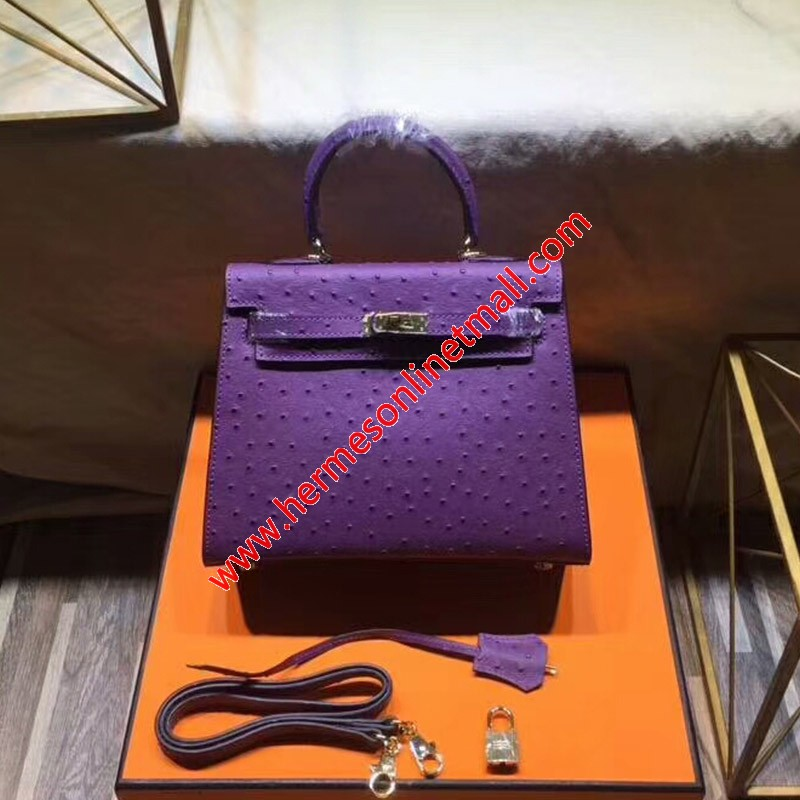 Hermes Kelly Bag Ostrich Leather Gold Hardware In Purple