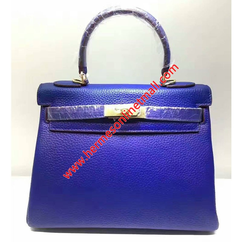 Hermes Kelly Bag Togo Leather Gold Hardware In Blue