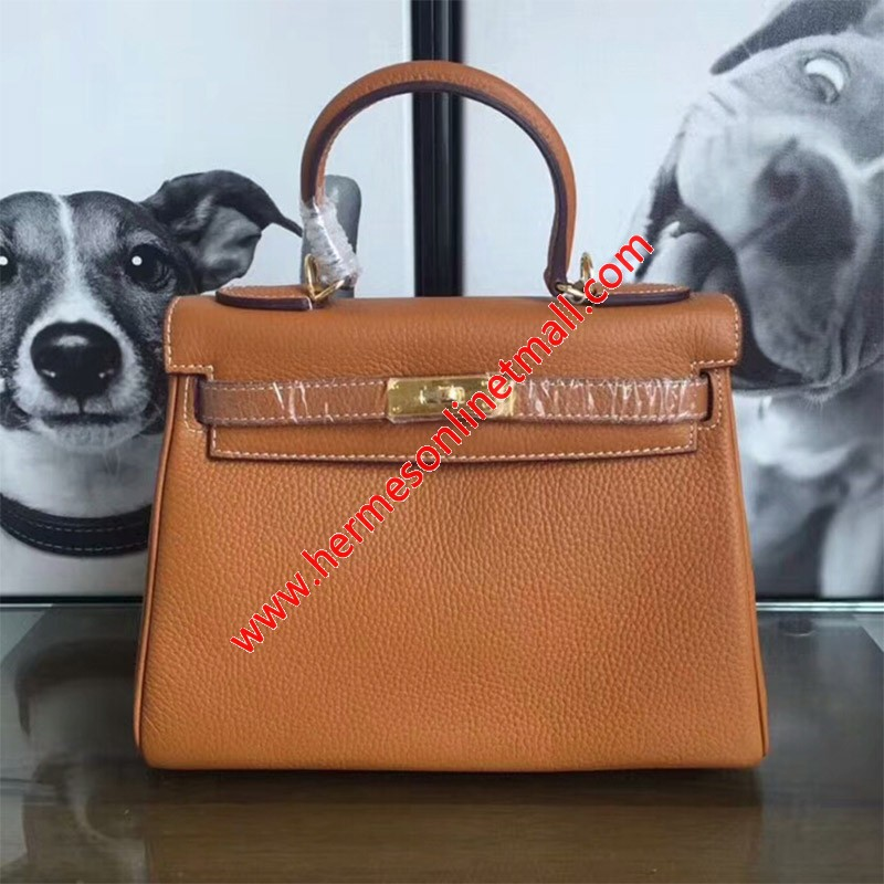 Hermes Kelly Bag Togo Leather Gold Hardware In Brown