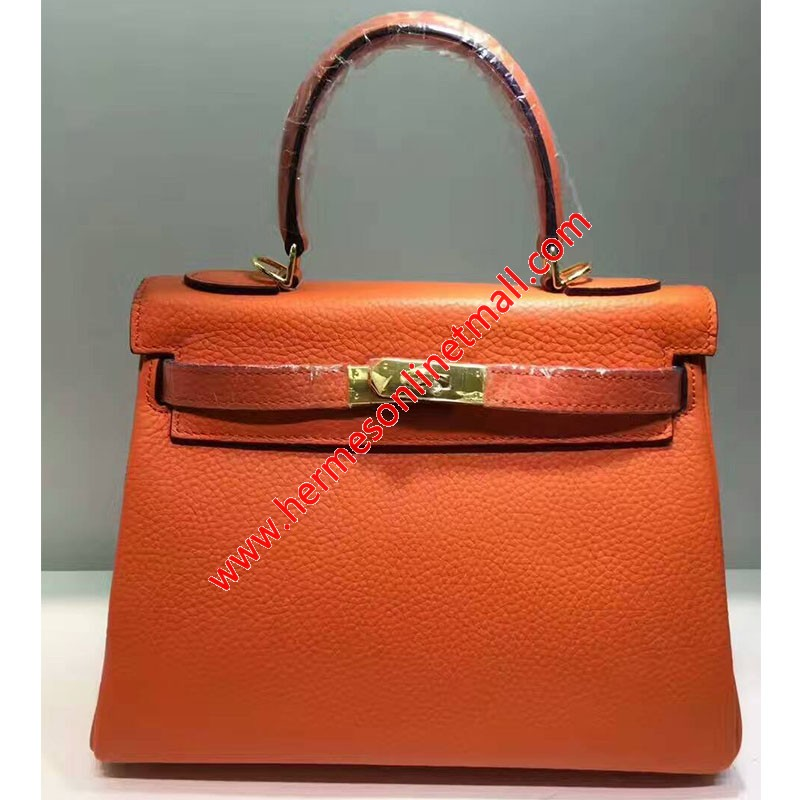 Hermes Kelly Bag Togo Leather Gold Hardware In Orange