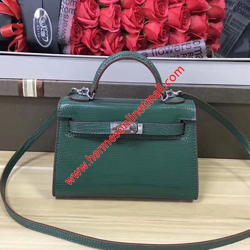 Hermes Kelly Mini Bag Lizard Leather Gold Hardware In Green