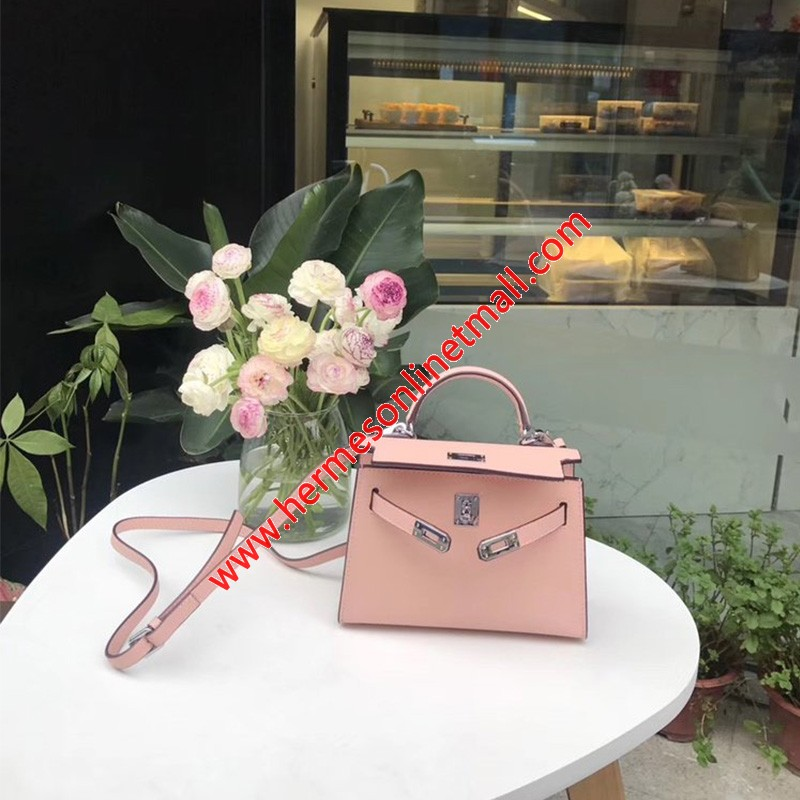 Hermes Kelly II Mini Bag Epsom Leather Palladium Hardware In Light Pink