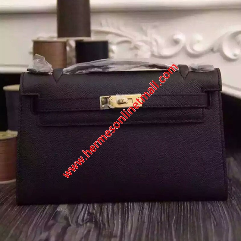 Hermes Kelly Mini Pochette Bag Epsom Leather Gold Hardware In Black