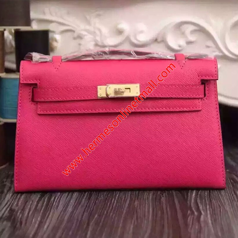 Hermes Kelly Mini Pochette Bag Epsom Leather Gold Hardware In Pink