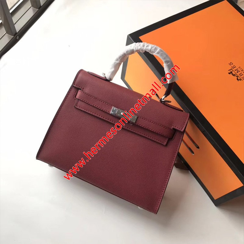 Hermes Kelly Bag Epsom Leather Palladium Hardware In Burgundy