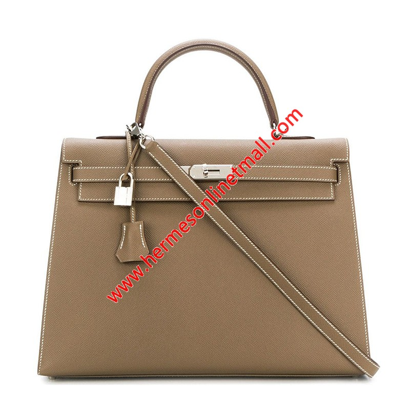 Hermes Kelly Bag Epsom Leather Palladium Hardware In Khaki