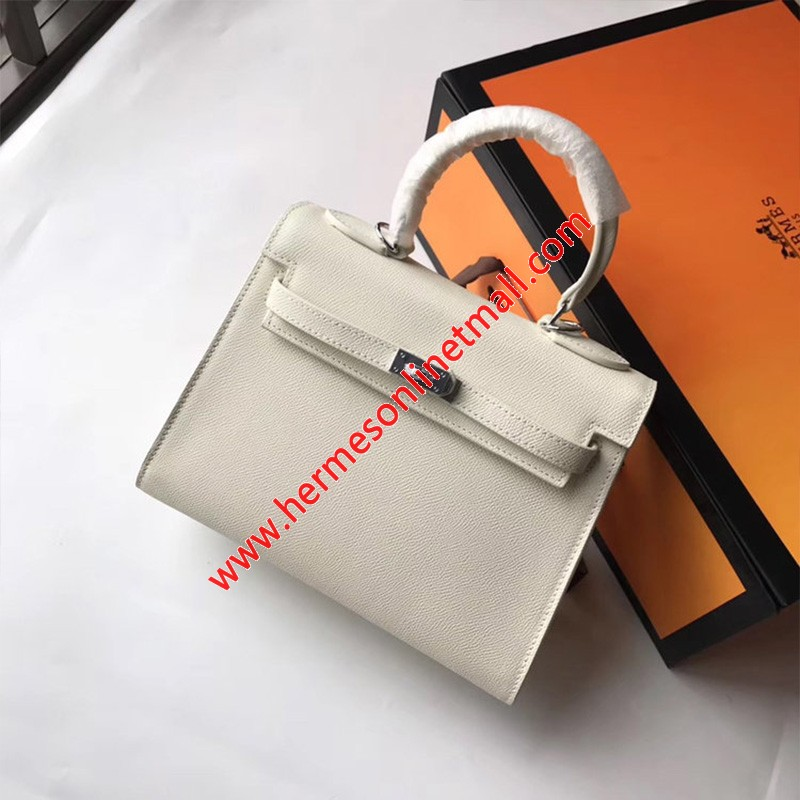 Hermes Kelly Bag Epsom Leather Palladium Hardware In White