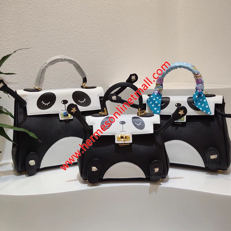 Hermes Kelly Panda Bag Togo Leather Gold Hardware In Black