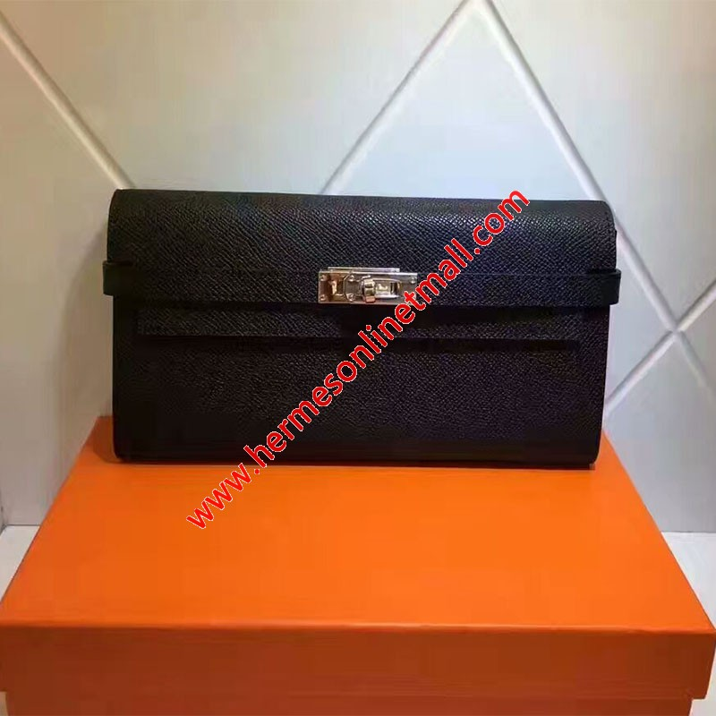 Hermes Kelly Wallet Epsom Leather Gold Hardware In Black