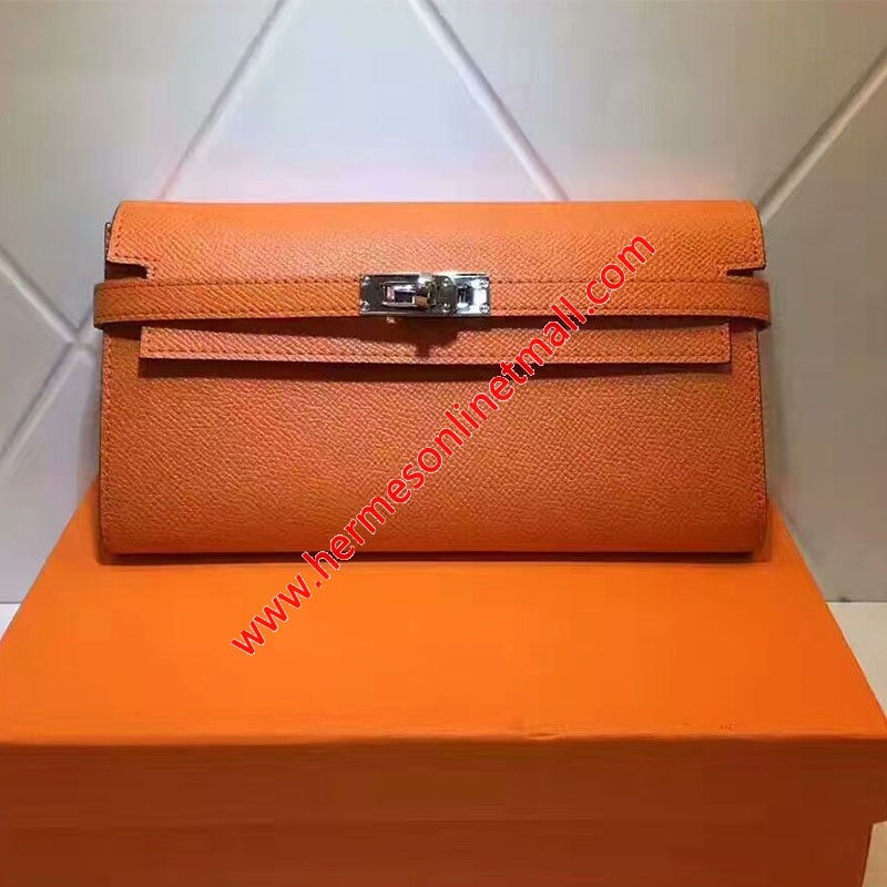 Hermes Kelly Wallet Epsom Leather Gold Hardware In Orange