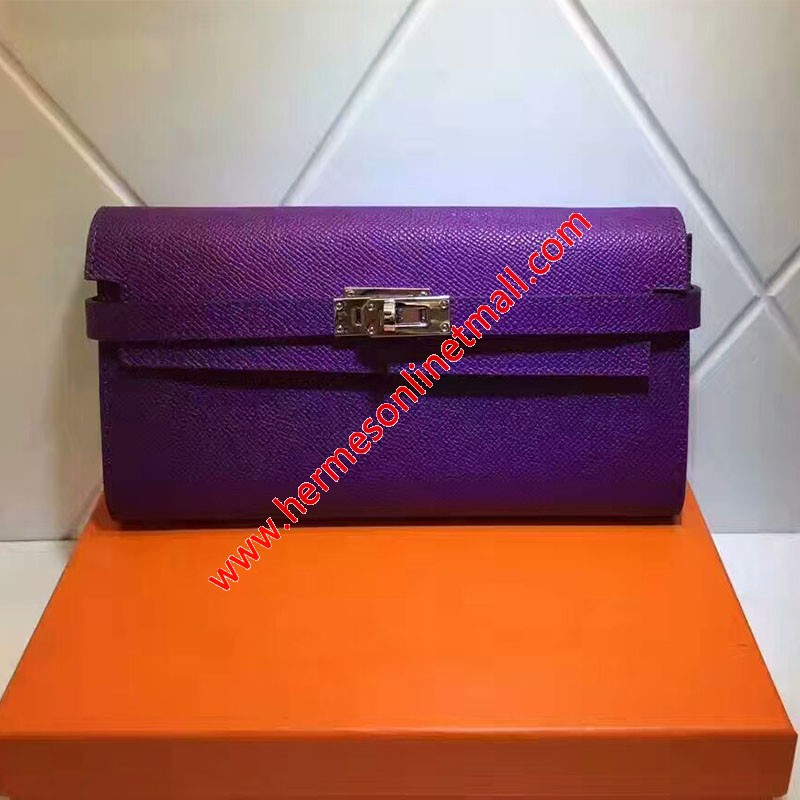 Hermes Kelly Wallet Epsom Leather Gold Hardware In Purple