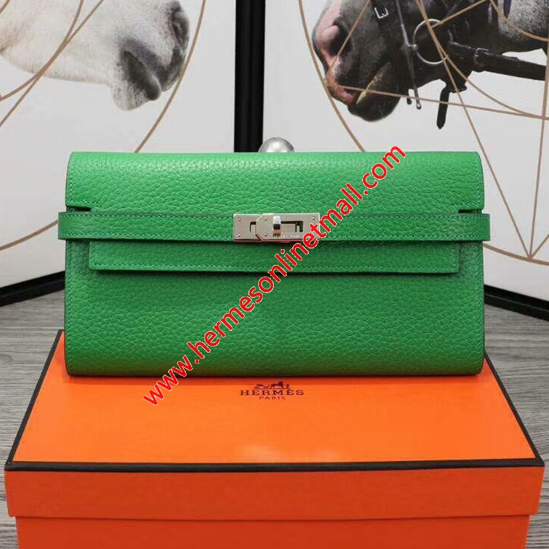 Hermes Kelly Wallet Epsom Leather Palladium Hardware In Green