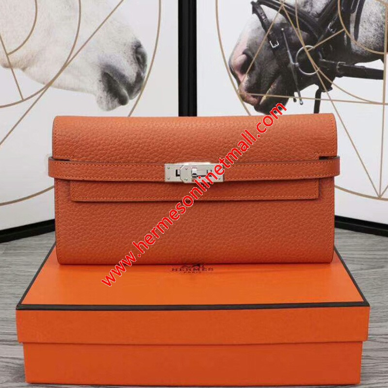 Hermes Kelly Wallet Epsom Leather Palladium Hardware In Orange