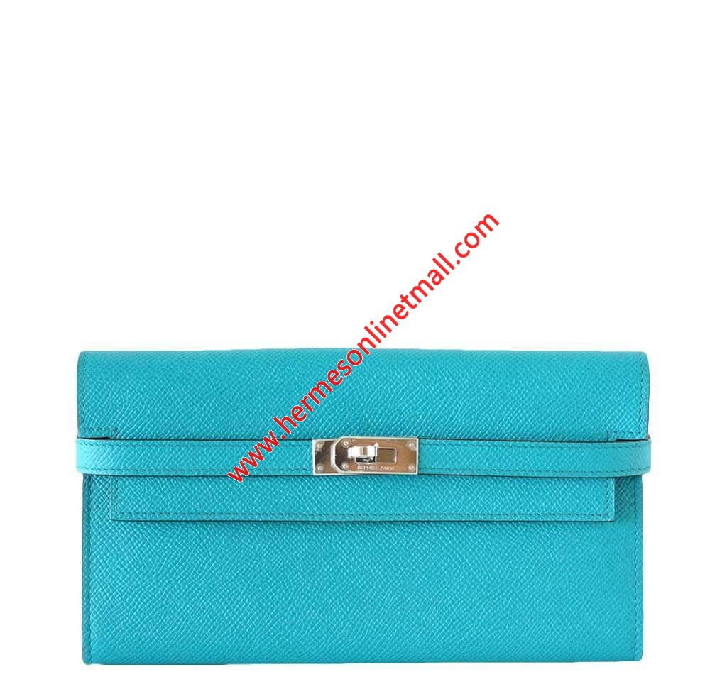 Hermes Kelly Wallet Epsom Leather Palladium Hardware In Teal