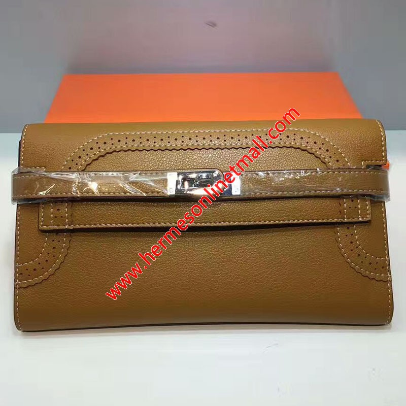 Hermes Kelly Wallet Swift Leather Palladium Hardware In Brown