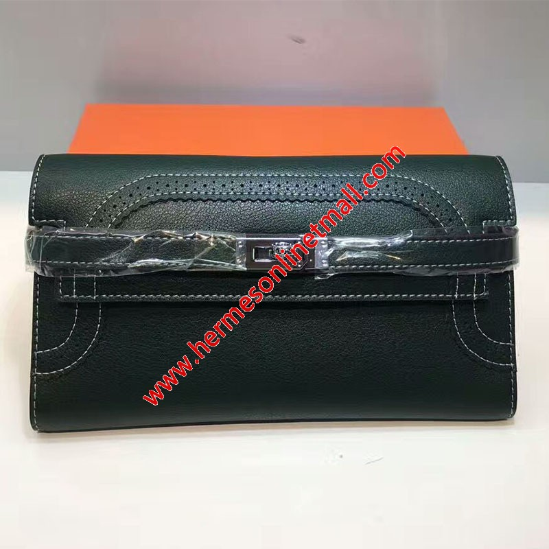 Hermes Kelly Wallet Swift Leather Palladium Hardware In Green