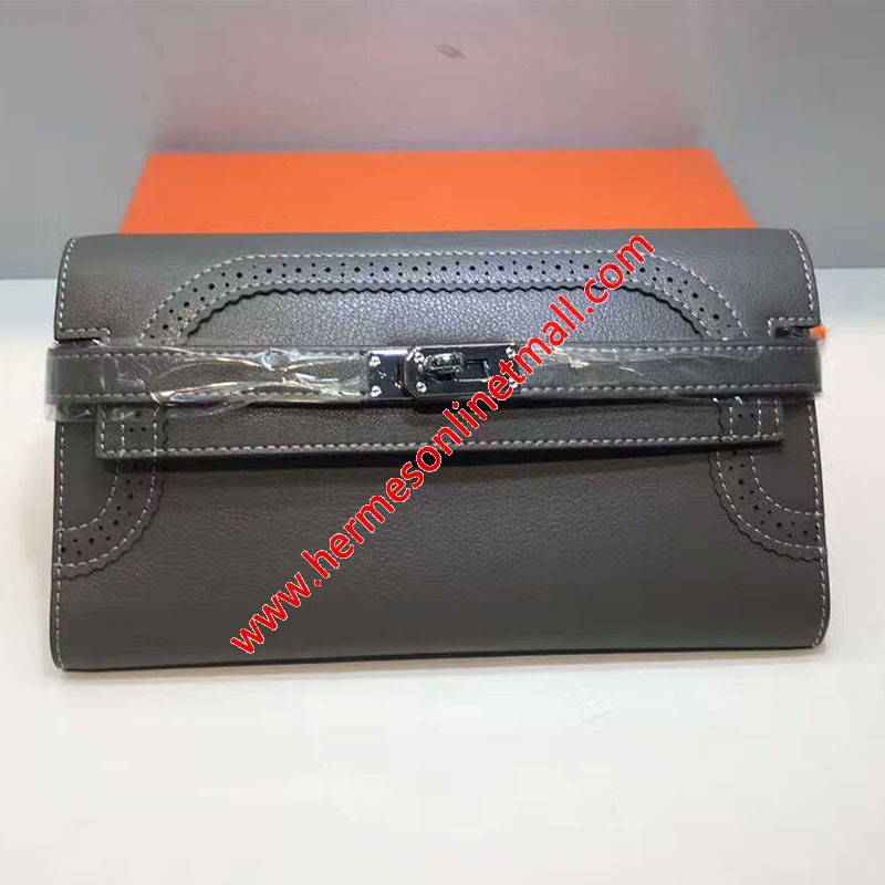 Hermes Kelly Wallet Swift Leather Palladium Hardware In Marble