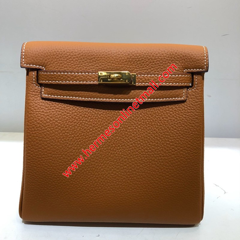 Hermes Kelly Ado Backpack Clemence Leather Gold Hardware In Brown