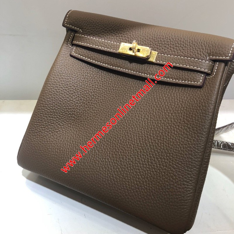 Hermes Kelly Ado Backpack Clemence Leather Gold Hardware In Coffee