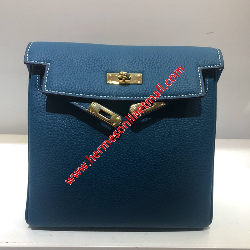 Hermes Kelly Ado Backpack Clemence Leather Gold Hardware In Navy Blue