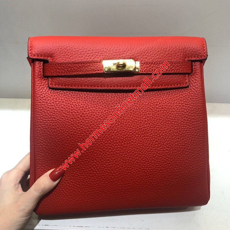 Hermes Kelly Ado Backpack Clemence Leather Gold Hardware In Red