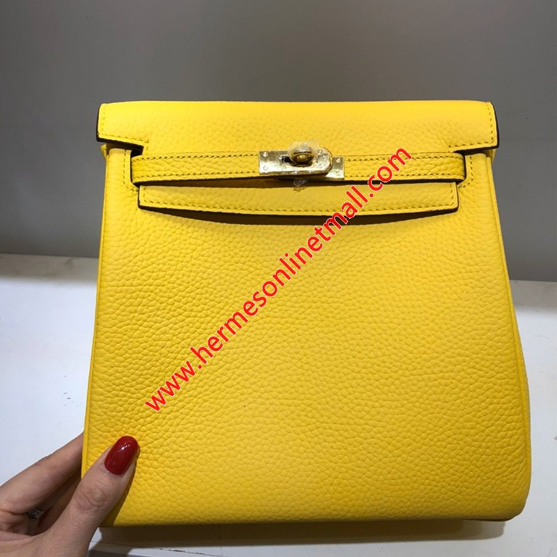 Hermes Kelly Ado Backpack Clemence Leather Gold Hardware In Yellow