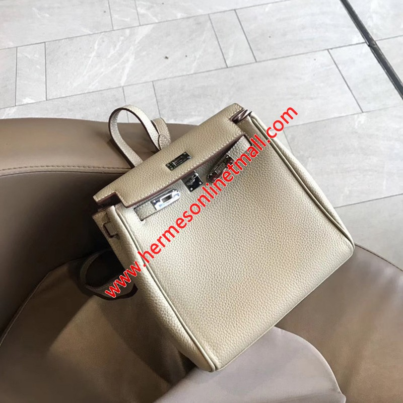 Hermes Kelly Ado Backpack Clemence Leather Palladium Hardware In Apricot