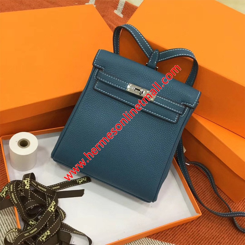 Hermes Kelly Ado Backpack Clemence Leather Palladium Hardware In Peacock Blue