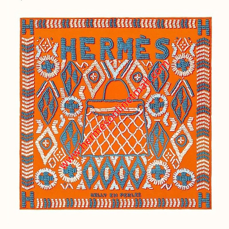 Hermes Kelly en Perles Shawl 140 In Orange