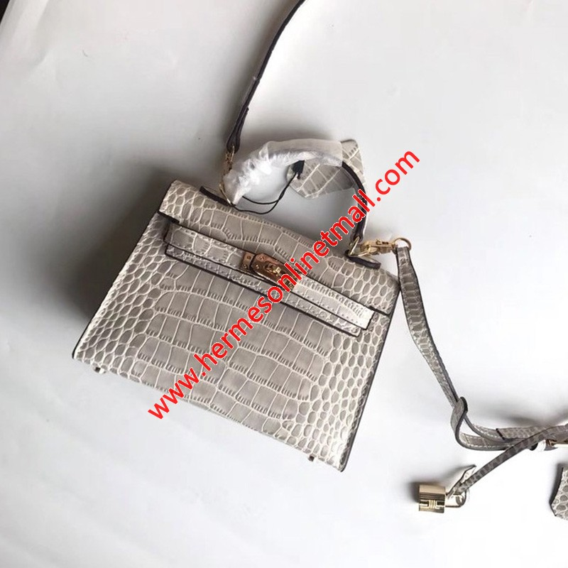 Hermes Kelly II Mini Bag Alligator Leather Gold Hardware In Light Grey
