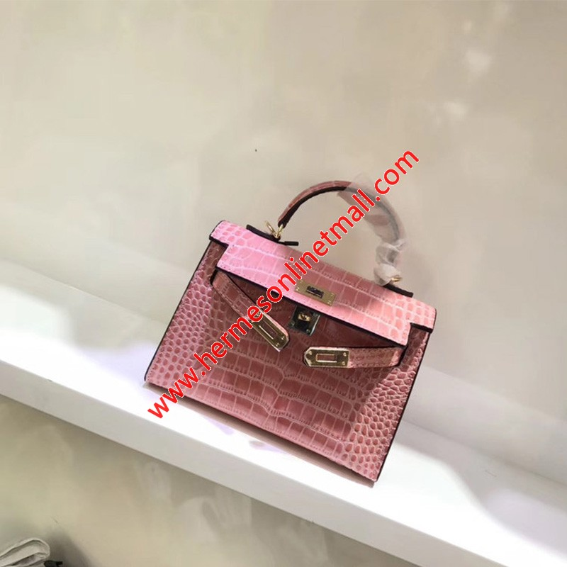 Hermes Kelly II Mini Bag Alligator Leather Gold Hardware In Pink