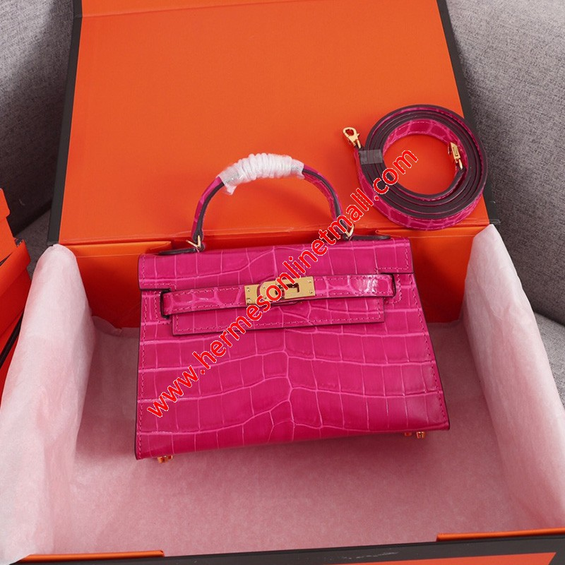 Hermes Kelly II Mini Bag Alligator Leather Gold Hardware In Rose