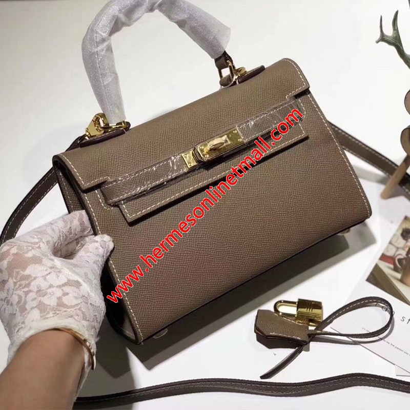 Hermes Kelly II Mini Bag Epsom Leather Gold Hardware In Khaki