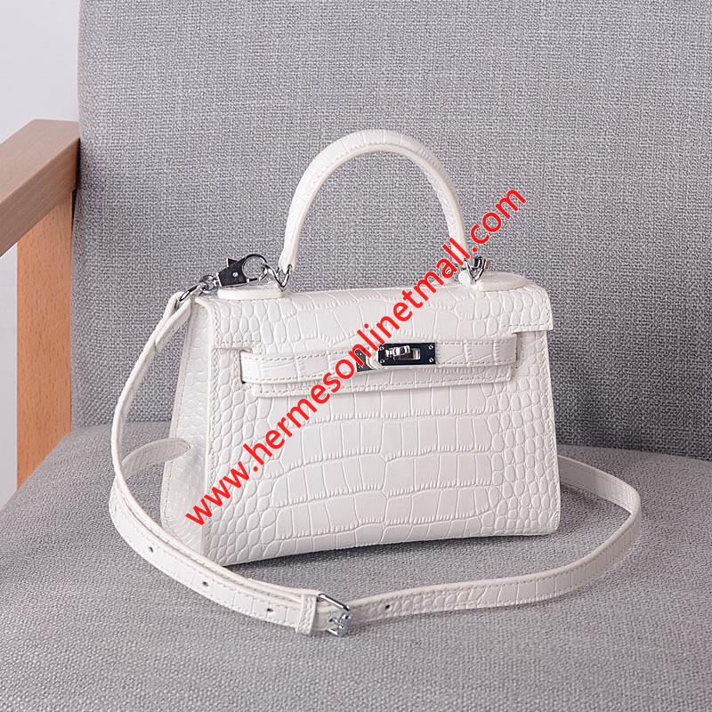 Hermes Kelly II Mini Bag Alligator Leather Palladium Hardware In White