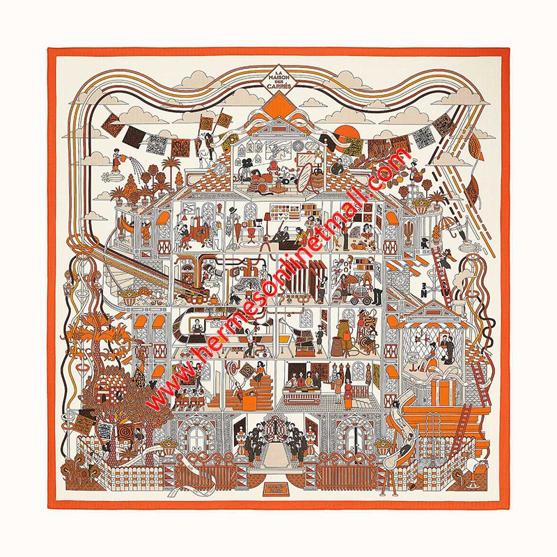 Hermes La Maison des Carres Shawl 140 In Orange