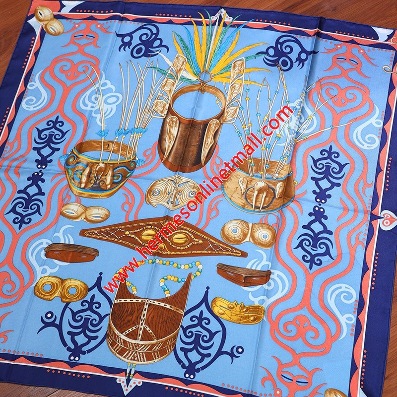 Hermes Le Regard De L'arctique 90 Scarf In Blue
