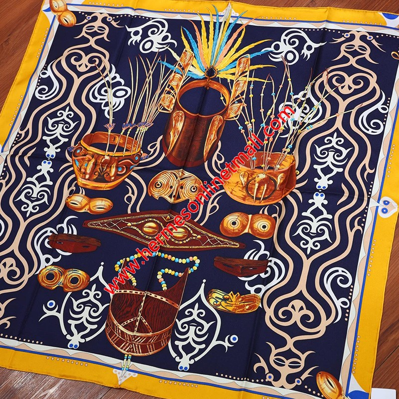 Hermes Le Regard De L'arctique 90 Scarf In Navy Blue