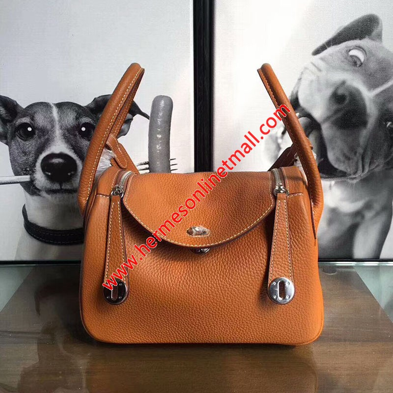 Hermes Lindy Bag Clemence Leather Palladium Hardware In Brown