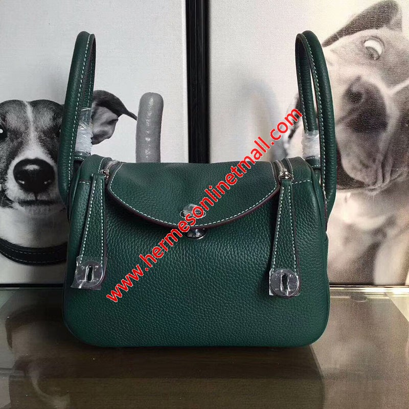 Hermes Lindy Bag Clemence Leather Palladium Hardware In Green