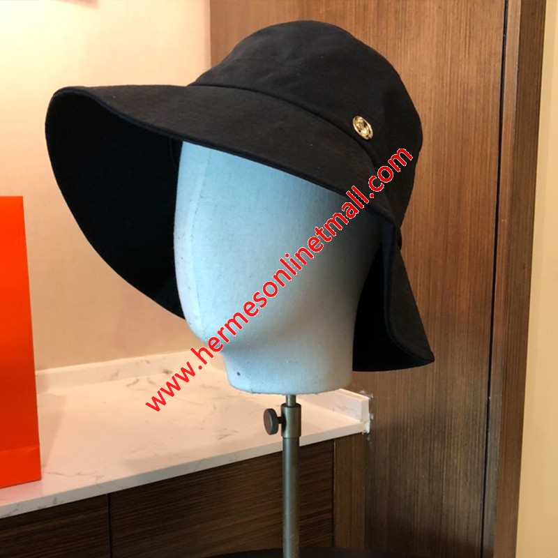 Hermes Logo Catton Bucket Hat In Black