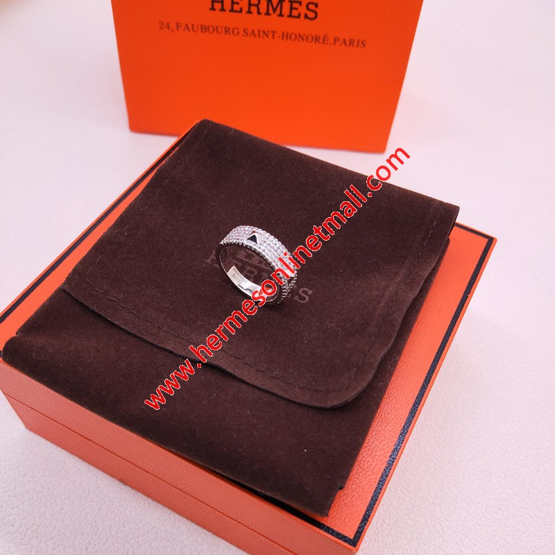 Hermes Mini Clous Ring With Crystal Silver