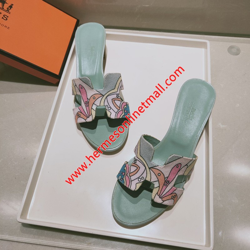 Hermes Oasis Sandal With Fantaisie Botanique Print Cotton Canvas Sky Blue