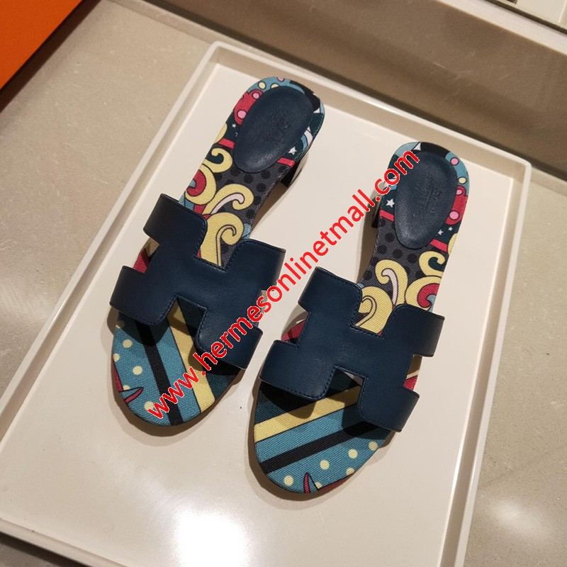 Hermes Oasis Sandal Coquelicot Calfskin In Navy Blue