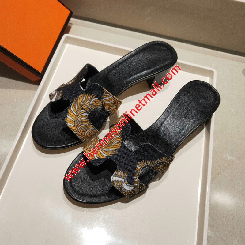 Hermes Oasis Sandal Coquelicot Cotton Canvas In Black