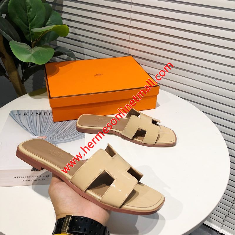 Hermes Oran Sandal Nappa Leather In Apricot