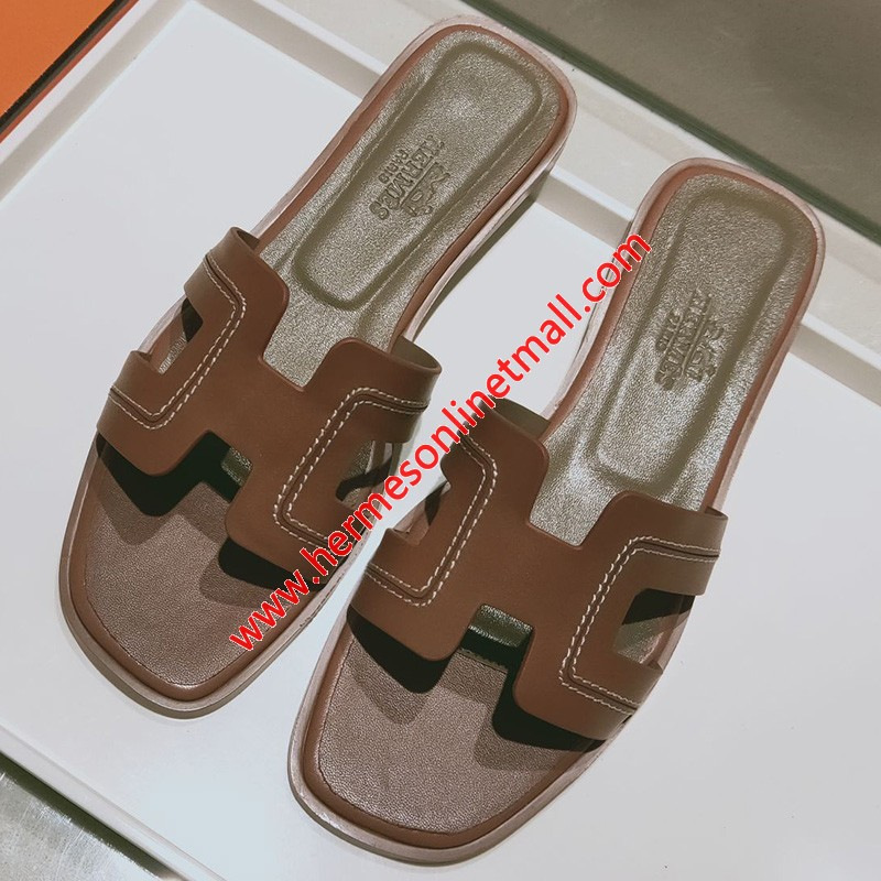 Hermes Oran Sandal Stitched Calfskin In Brown